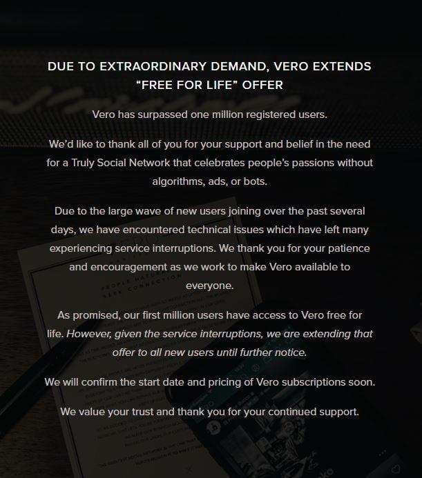 Vero homepage message