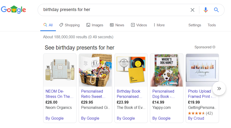 Google search for 'birthday presents for her'